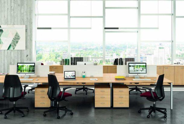 Scrivania operativa Quadrifoglio ponte pannellata Adv arredamentI ufficio Torino