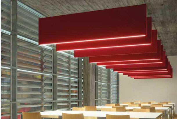 pannello fonoassorbente a sospensione caruso flag acustica Adv arredamenti ufficio Torino