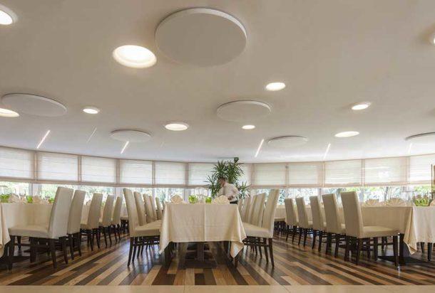 pannello fonoassorbente circolare parete soffitto caruso dot acustica Adv arredamenti ufficio Torino