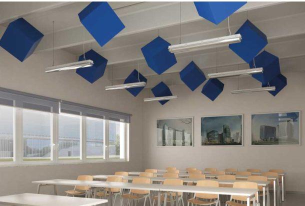 pannello fonoassorbente sospensione caruso kubo acustica Adv arredamenti ufficio Torino