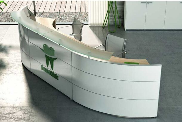 reception Bralco reception semitonda con piano in vetro adv arredamento ufficio Torino