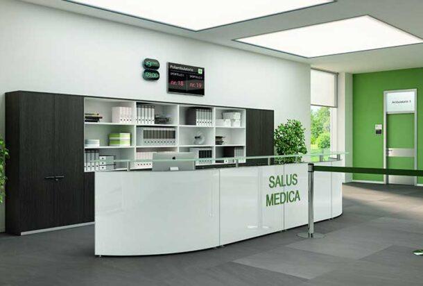 reception Bralco recepion semitonda con piano in vetro adv arredamento ufficio Torino
